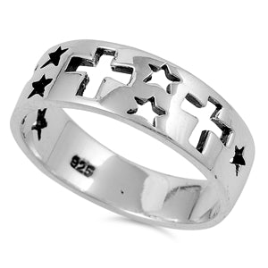Men's Black Sterling Silver Cross & Stars Ring