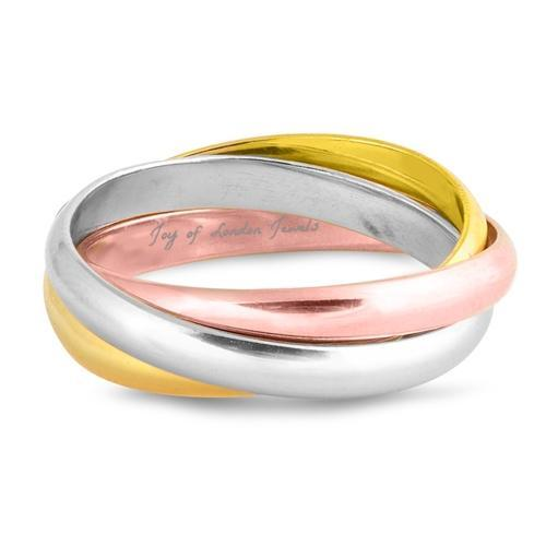SALE  3mm Trinity Ring Rose Yellow Gold Platinum - Joy of London Jewels