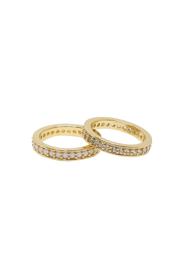 Opal and Crystal 18k Gold Plated Band Set