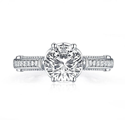 A Flawless 18K White Gold 2CT Round Cut Belgium Lab Diamond Engagement Ring - Joy of London Jewels