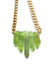 Handmade Natural Green Crystal Quartz Necklace