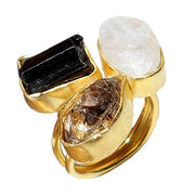 14K Yellow Gold Natural Herkimer + Tourmaline + Moonstone Ring - Joy of London Jewels