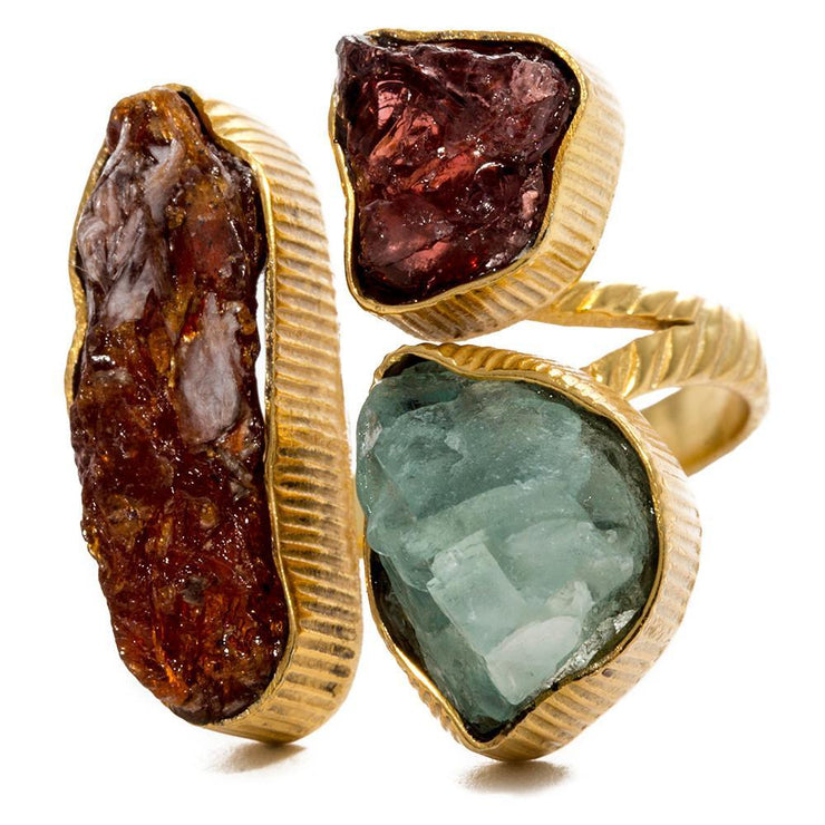 18K Yellow Gold Natural lolita Kyanite + Garnet + Fluorite Ring