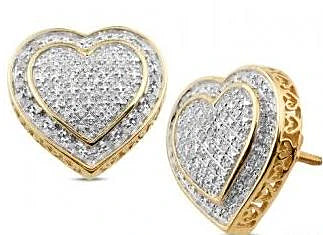 10K Yellow White or Rose Gold Ethically Mined Diamond Heart Stud Earrings