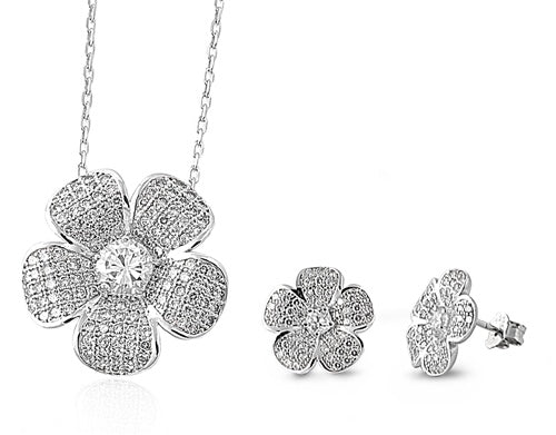 Floral Pendant & Earrings Set