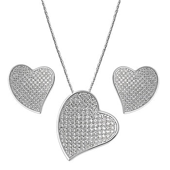 Forever Love Heart Pendant Necklace & Earring Set - Joy of London Jewels