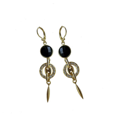 Crystal and Black Onyx Circle Earrings - Joy of London Jewels