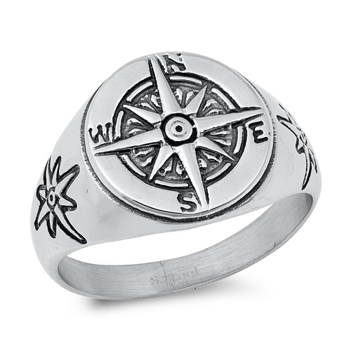 Men's Oxidized 925 Sterling Silver Compass Ring - Joy of London Jewels