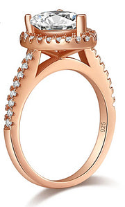 A Flawless Rose Gold 2CT Pear Belgium Lab Diamond Engagement Ring
