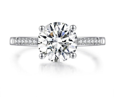 A 2CT (8mm) Round Cut Moissanite Engagement Ring - Joy of London Jewels