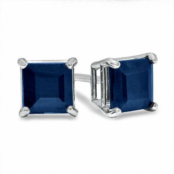 1.1CT Princess Cut Blue Sapphire Cubic Zirconia Stud Earrings - Joy of London Jewels