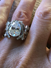 A Flawless 4CT Pear Cut Belgium Lab Diamond Engagement Ring