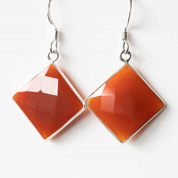 Valerie Carnelian Square Drop Earrings