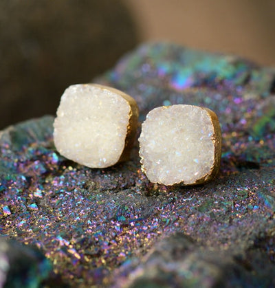 Natural Druzy Stud Earrings - Joy of London Jewels