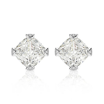 A Flawless Princess Cut Geometric Belgium Lab Diamond Stud Earrings - Joy of London Jewels