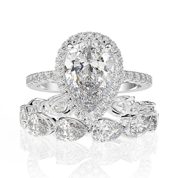 A 3CT Pear Cut Belgium Lab Diamond Halo Bridal Set - Joy of London Jewels