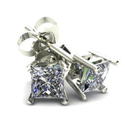 14K White Yellow Gold .33TCW Princess Cut Earth Mined White Diamond Stud Earrings