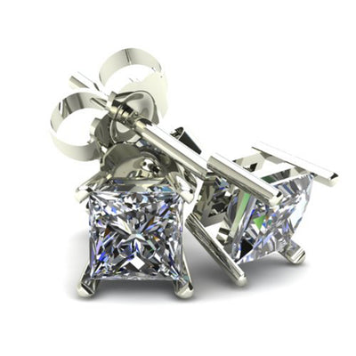 14K White Yellow Gold .75TCW Princess Cut Earth Mined White Diamond Stud Earrings