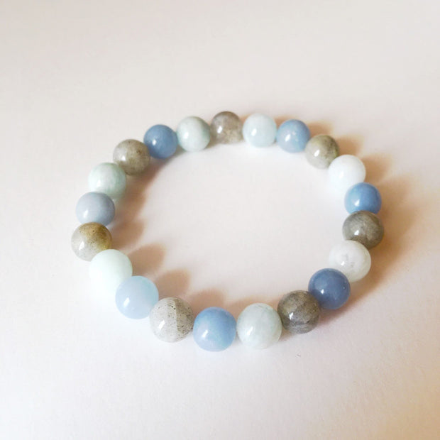 Aquamarine, Angelite & Labradorite Bracelet - Joy of London Jewels