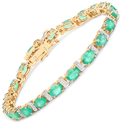 Celtic 14K Yellow Gold 9.43CT Genuine Zambian Emerald & White Diamond Bracelet - Joy of London Jewels