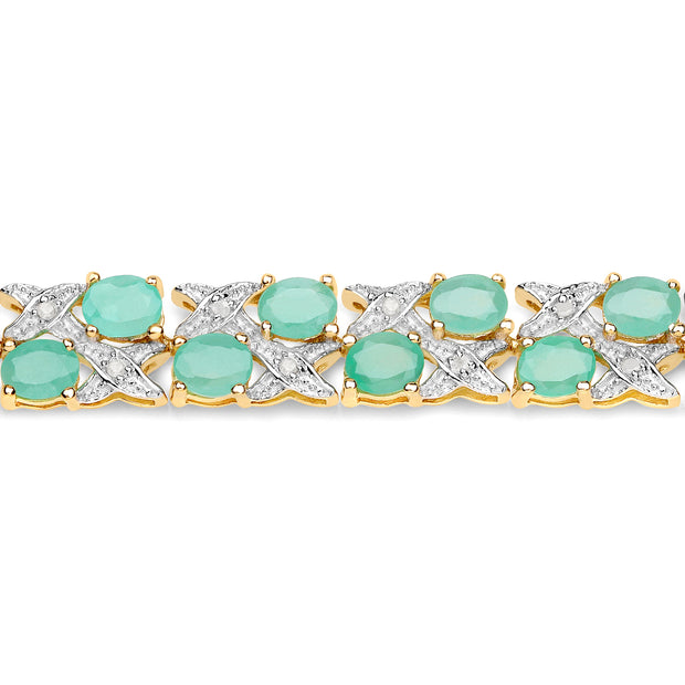 Celtic 14K Yellow Gold 10.4TCW Genuine Zambian Emerald & White Diamond Bracelet - Joy of London Jewels
