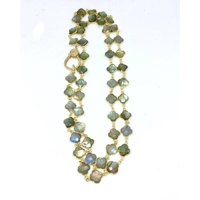 Vintage Natural Labradorite Clover Necklace - Joy of London Jewels