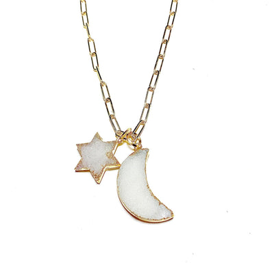 14K Yellow Gold Natural Druzy Moon & Star Necklace - Joy of London Jewels