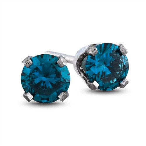 14K White Gold .36TCW Round Cut Blue Diamond Stud Earrings - Joy of London Jewels