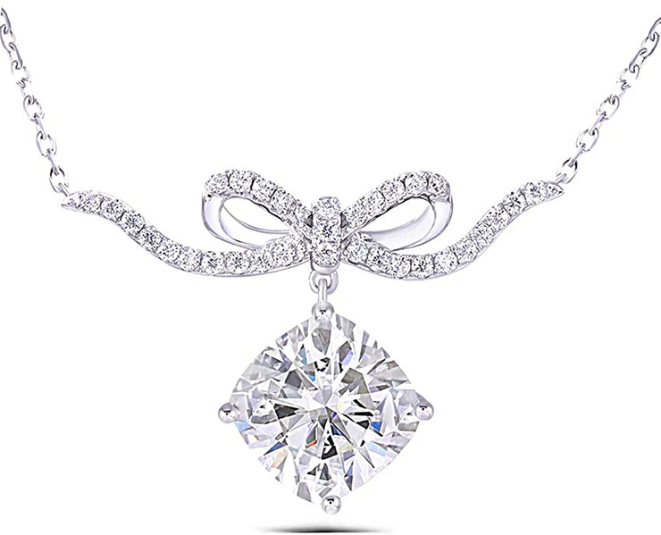 The Bow, A 2CT Cushion Cut Moissanite Pendant Necklace - Joy of London Jewels