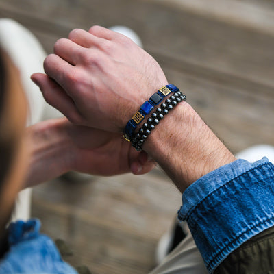 LAPIS LAZULI, BLACK ONYX Flatbead Bracelet | Blue & Black Gemstones - Joy of London Jewels