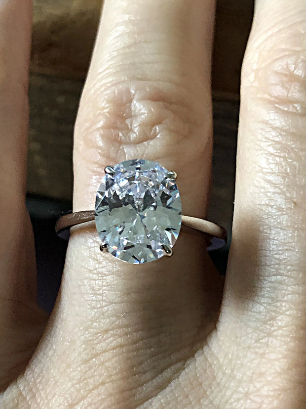 A Classic 3CT Oval Cut Belgium Lab Diamond Solitaire Engagement Ring