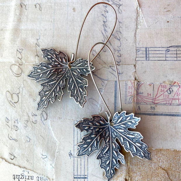 Handmade Maple Leaf Earrings - Joy of London Jewels