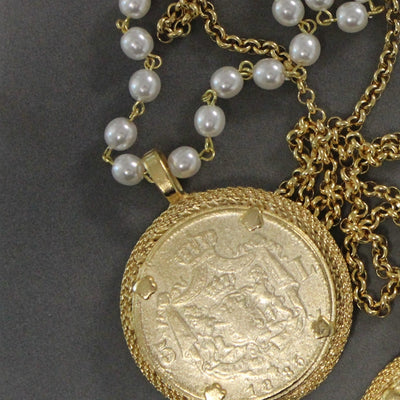 18K Yellow Gold French Vintage Coin Pearl Necklace - Joy of London Jewels