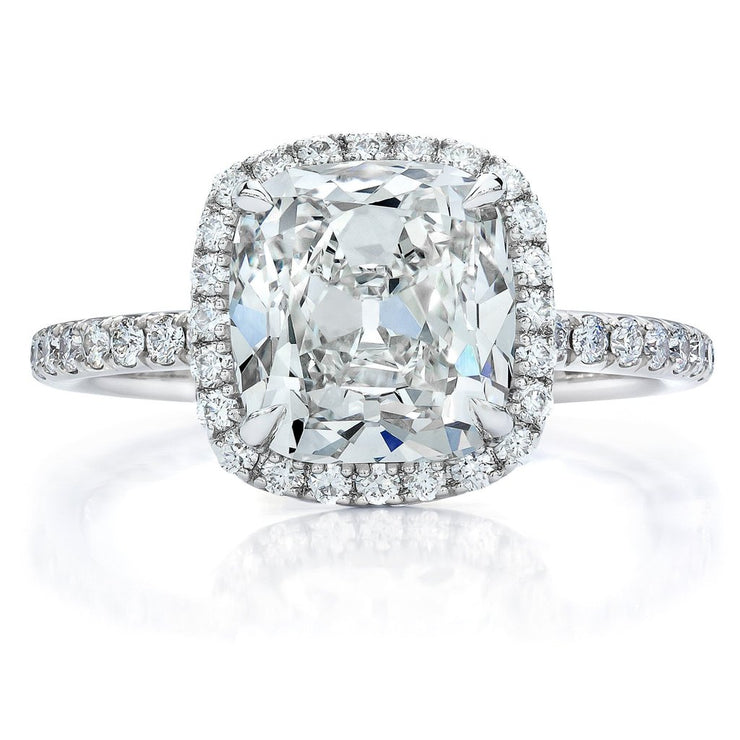 A 14K White Gold 2CT Cushion Cut Moissanite Halo Engagement Ring - Joy of London Jewels