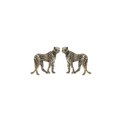 Hand Cast Silver Bronze Leopard Earrings