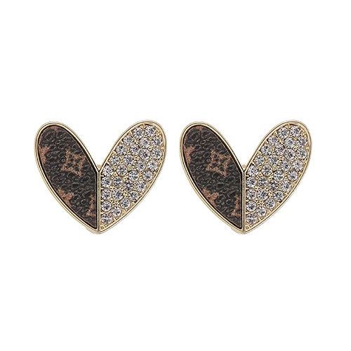 Up-Cycled LV & Swarovski Heart Earrings - Joy of London Jewels