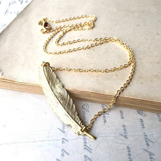 SALE  Handmade Golden Feather Necklace - Joy of London Jewels