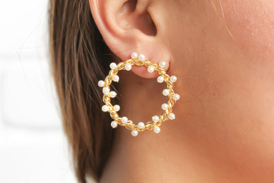 Pearl Crown Statement Earrings