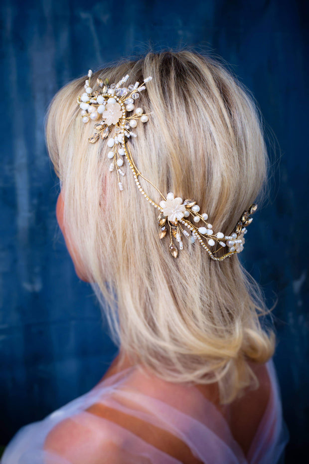 London bridal hair wreath Wedding hair comb - Joy of London Jewels