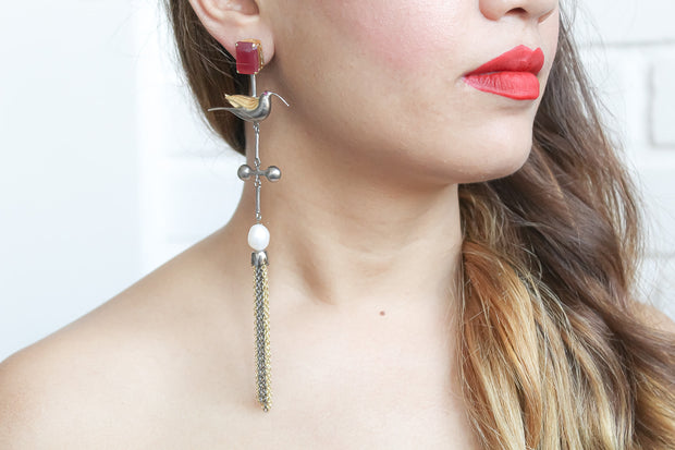 Humming Bird Earrings with Pearl