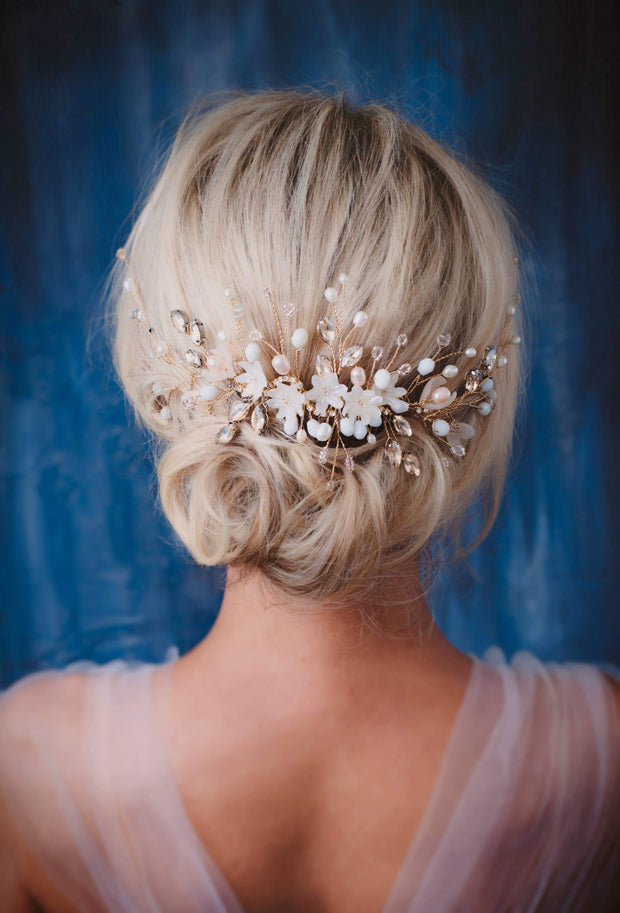 Taylor Pearl bridal hair back piece gold Bridal headpiece
