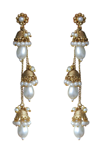 Long Chain Earrings with Pearl - Joy of London Jewels