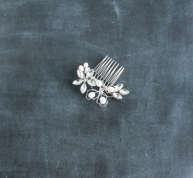Small gold crystal bridal hair comb