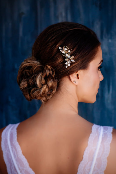 Small gold crystal bridal hair comb - Joy of London Jewels