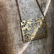 Yellow Gold LOVE Pendant Necklace