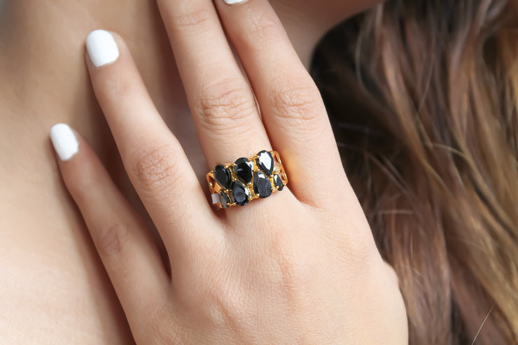 Natural Zircon Stepping Stone Ring