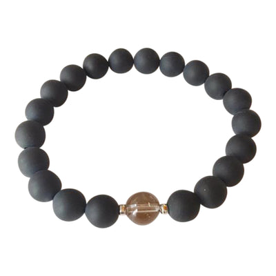 Men or Women Matte Black Onyx & Smoky Quartz Bracelet - Joy of London Jewels