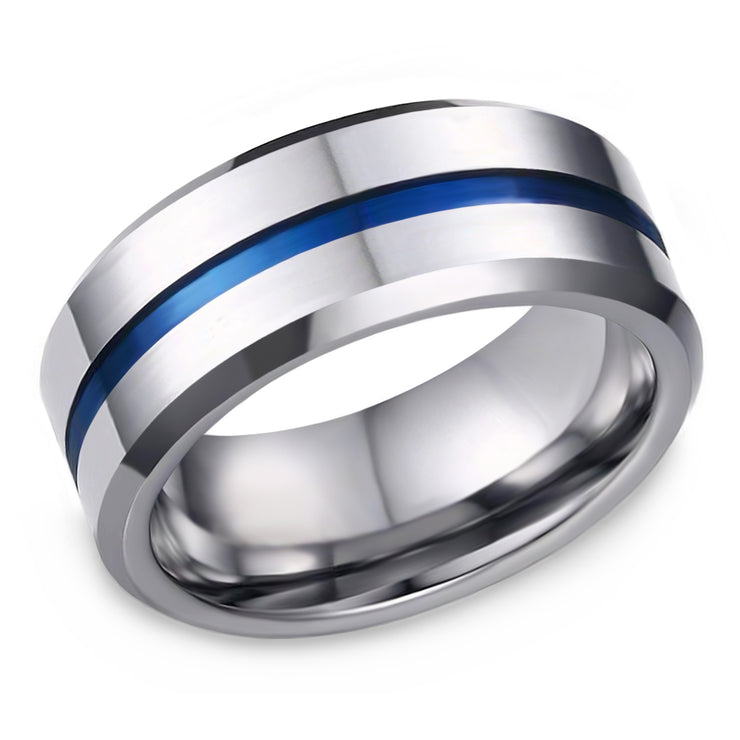Men's 8mm Wide Blue Stripe Ring Band - Joy of London Jewels