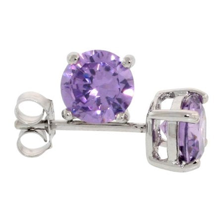 6mm Round Cut Lavender AAAAA Cubic Zirconia Stud Earrings