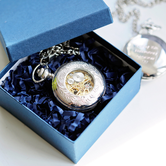 Men's Personalised Roman Skeleton Pocket Watch - Joy of London Jewels
